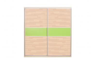 Skříň s posuvnými dveřmi 195 cm lamino,dveře buk cink